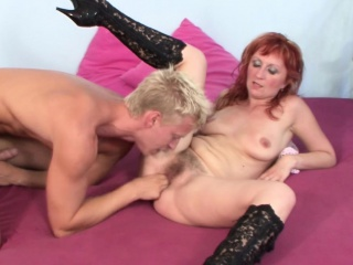 Hairy Step-Mom Seduce Young Boy to Fuck her When Home alone
