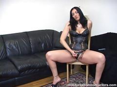 Fierce Looking Mistress Demos Jerk Off Process With Legs