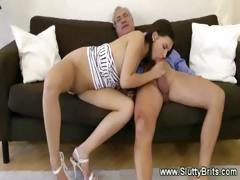 Old Man Plays With Young Pussy