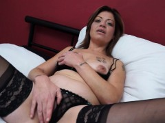 cute mature lady masturbates in stockings