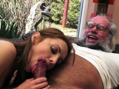 classy-beauty-creampied-by-grandpa-outdoors
