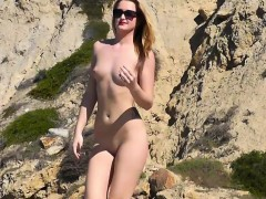 Big Tits Blonde Babe Amateur Nudist Beach Voyeur Video