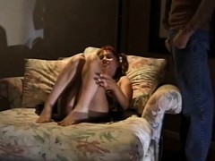 Handjob Using Her Feet Too From Brunette Milf On Couch