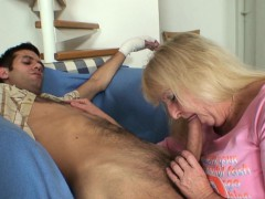 Old mother in law white in lingerie pleases him