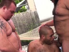 Chubby Threeway Bears Pounding Ass Bareback