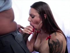 Fleshy babe Tori pounds a big black cock
