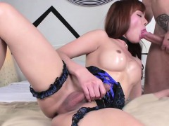 Asian Tgirl Plams Passionate Anal Sex