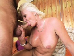 Old Lady Spits Out Cum