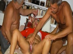 omahotel-two-guys-playing-with-one-hairy-grandma