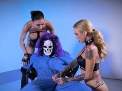 Big Dick Skullman Bangs Two Hot Chicks
