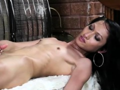 Solo Masturbating Transwoman Tugs Her Cock