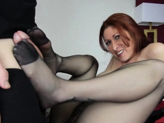 sexy mom footjob and cumshot