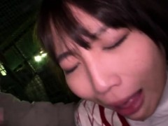 Cute Japanese babe gives one lucky guy a great blowjob