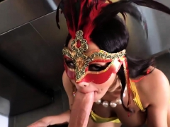 Busty Latina In Mask Gets Her Ass Ripped By Fat Cock