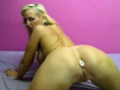 Busty Blonde On Webcam Stuffed Dildo In Her Anal Hole