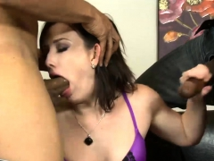 hot woman double fucked by monster black cocks on the couch