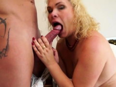 Blonde mature having fun with her young lover