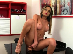 Tgirl Wanks Her Cock And Crams A Dildo Up Her Ass