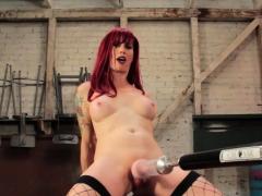 Machine Fucked Redhead Tgirl Wanking Cock