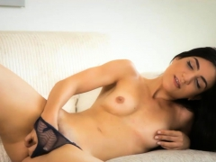 Gorgeous brunette fingers her pussy when she was home alone