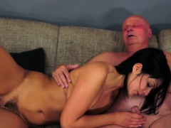 Hairy Teen Fucked By Grandpa After Blowjob