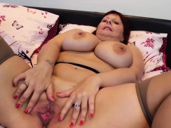 Sensational Granny Plays With Her Pussy