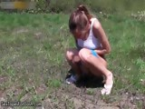 Cute teenage babe gets horny pissing part5