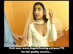 sexy-brunette-indian-bride-talking-with-a-guy