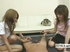subtitled real japanese amateur friends handjob cumshot