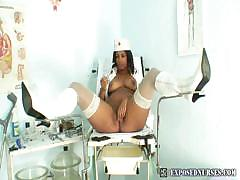 Black Nurse Manuela Checks Her Open Pussy With A Mirror