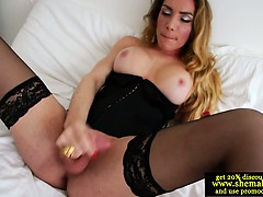 Solo Shemale Cums All Over Her Corset