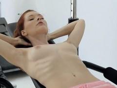 Beautiful Redhead Teen Girl Mia Sollis Working Out Naked