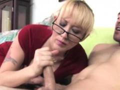 blonde-spex-milf-jerking-his-dick