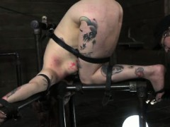 Bound Sub Strapped To Punishment Table