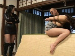 tied up asian babe gets spanked and dildo nailed
