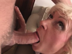 Hot Blonde Grandma Enjoys Two Fresh Cocks