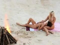 Lesbian Babes Loving Each Other At A Beach