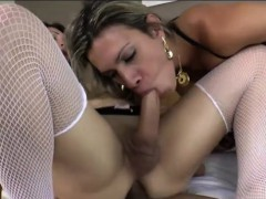 2 Shemales Leticia Andrade And Angel Cortez Fucking With Man