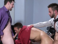 Office Hunk Spitroasted On Desk By Muscular Colleagues