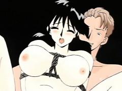 Busty Japanese anime bondaged and hard DP