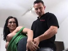 Sexy Brunette Tranny Gives Him A Surprise