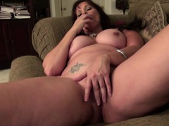 big titted mature brunette using a huge dildo