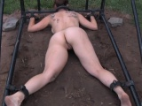 Bounded sub humiliated outdoors by maledom