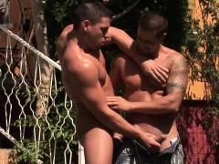 Muscular Pool Guy Gets His Asshole Fucked By A Raw Hard Cock