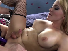 Stockings Tgirl Tugging Her Cock