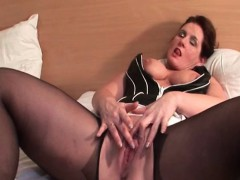 Stockinged Mature Doing Herself With A Toy