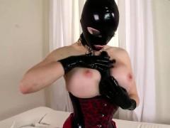 Latex clad Busty Slut Pleasures Her Wet Cunt