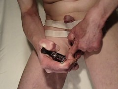 Weird Dude Tapes Up His Dick While He Strangles His Nut Sac