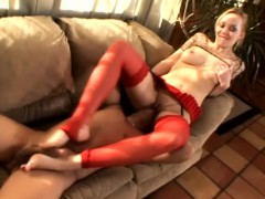 Slender Blonde With Lovely Little Feet Drives A Big Stick To Pleasure