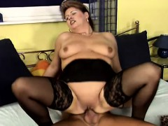 Horny Milf Nancy Puts On Her Sexy Black Lingerie And Fucks A Hard Cock